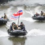 Royal Navy transport flag in rib boat