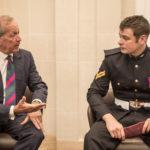 Sir Alan Yarrow talks to Corporal Leakey VC,