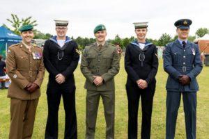 Members of the Royal Navy, British Army and Royal Air Force.